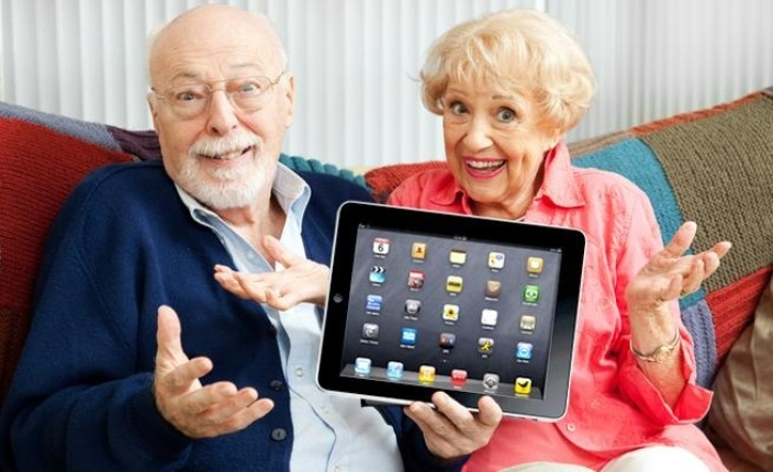 old age happy with technology