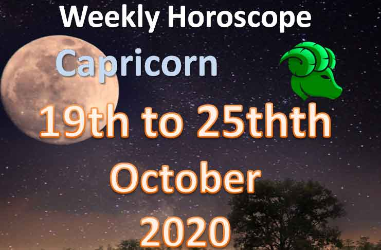 capricorn weekly horoscope 19th to 25th october 2020