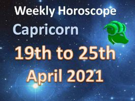 capricorn weekly horoscope 19th to 25th april 2021