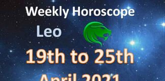 leo weekly horoscope 19th to 25th april 2021